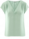 Блузка с коротким рукавом и V-образным вырезом oodji #SECTION_NAME# (зеленый), 11411100/45348/6500N