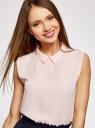Топ базовый из струящейся ткани oodji для женщины (розовый), 14911006B/43414/4000N