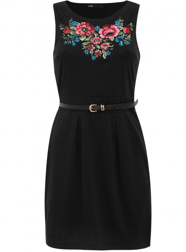 Трикотажное платье oodji для женщины (черный), 14005072-3/18610/2941P
