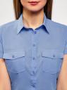 Рубашка хлопковая с нагрудными карманами oodji для женщины (синий), 13L02001B/45510/7501N