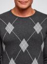 Джемпер жаккардовый с геометрическим узором oodji #SECTION_NAME# (серый), 4L112205M/48960N/2333J - вид 4