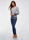 Блузка прямого силуэта с V-образным вырезом oodji #SECTION_NAME# (разноцветный), 21400394-3/24681/1279E - вид 6