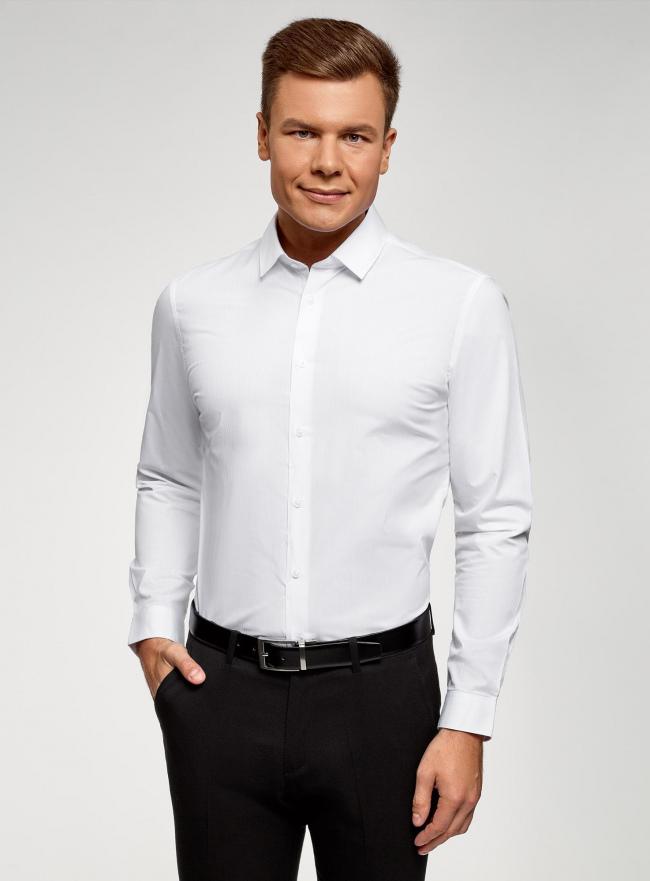 Рубашка базовая из хлопка oodji #SECTION_NAME# (белый), 3B110036M/49280N/1000N