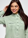 Рубашка хлопковая с нагрудными карманами oodji #SECTION_NAME# (зеленый), 13L11009/45608/7000N - вид 4