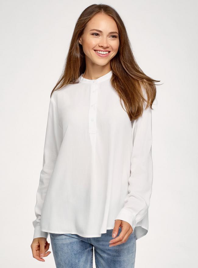 Блузка вискозная А-образного силуэта oodji #SECTION_NAME# (белый), 21411113B/42540/1200N