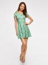 Платье приталенное с V-образным вырезом на спине oodji #SECTION_NAME# (зеленый), 14011034B/42588/6583F - вид 2