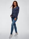 Блузка принтованная из вискозы oodji для женщины (синий), 11411049-1/42127/7919A