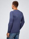 Пуловер базовый с V-образным вырезом oodji #SECTION_NAME# (синий), 4B212007M-1/34390N/7500M - вид 3