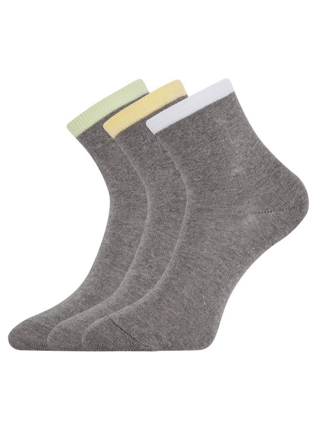 Комплект из трех пар носков oodji для женщины (разноцветный), 57102466T3/47469/19TFB