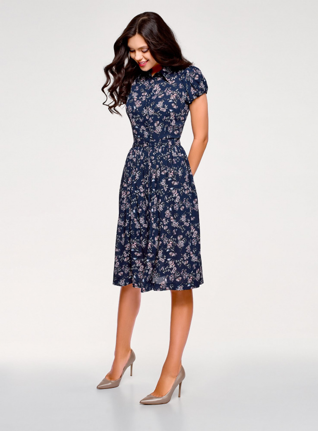 Платье миди с расклешенной юбкой oodji для женщины (синий), 11913026/36215/7841F
