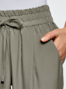 Брюки на резинке с завязками oodji #SECTION_NAME# (зеленый), 23F05001B/35184/6600N - вид 5