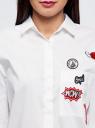 Рубашка oversize с нашивками oodji #SECTION_NAME# (белый), 13K11004/42785/1000N - вид 4