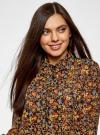 Блузка из комбинированных тканей с модными манжетами oodji #SECTION_NAME# (черный), 11411119/17288/2952F - вид 4
