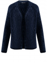 Кардиган фактурной вязки без застежки oodji для женщины (синий), 63201002/47937/7900N
