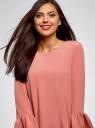 Платье прямого силуэта с воланами на манжетах oodji для женщины (розовый), 12C11005/42526/4B00N