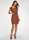 Платье вискозное без рукавов oodji #SECTION_NAME# (коричневый), 11910073B/26346/3701N - вид 6