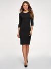 Платье в рубчик с рукавом 3/4 oodji #SECTION_NAME# (черный), 14001196/46412/2900N - вид 2