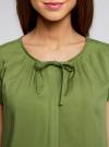 Блузка свободного силуэта с бантом oodji #SECTION_NAME# (зеленый), 11411154/24681/6200N - вид 4