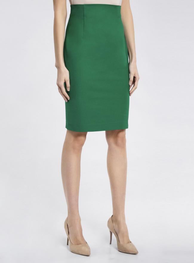 Юбка прямая с завышенной талией oodji для женщины (зеленый), 21601295/33574/6E00N