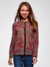 Блузка из струящейся ткани с контрастной отделкой oodji #SECTION_NAME# (красный), 11411059-2/38375/4912E - вид 2