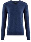 Пуловер вязаный с принтом oodji #SECTION_NAME# (синий), 4L212151M/44326N/7529F
