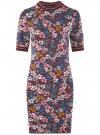 Платье трикотажное с воротником-стойкой oodji #SECTION_NAME# (красный), 14001229/47420/4979F