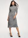 Платье миди из вискозы oodji для женщины (белый), 14011061/49988/1229F