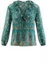 Блузка принтованная с воланами и стразами oodji для женщины (бирюзовый), 11411110/10466/7319F