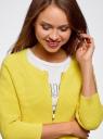Кардиган вязаный в рубчик на молнии oodji #SECTION_NAME# (желтый), 63212492/42178/5100N - вид 4