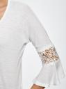 Блузка трикотажная с кружевными вставками на рукавах oodji для женщины (белый), 11308096/43222/1000N