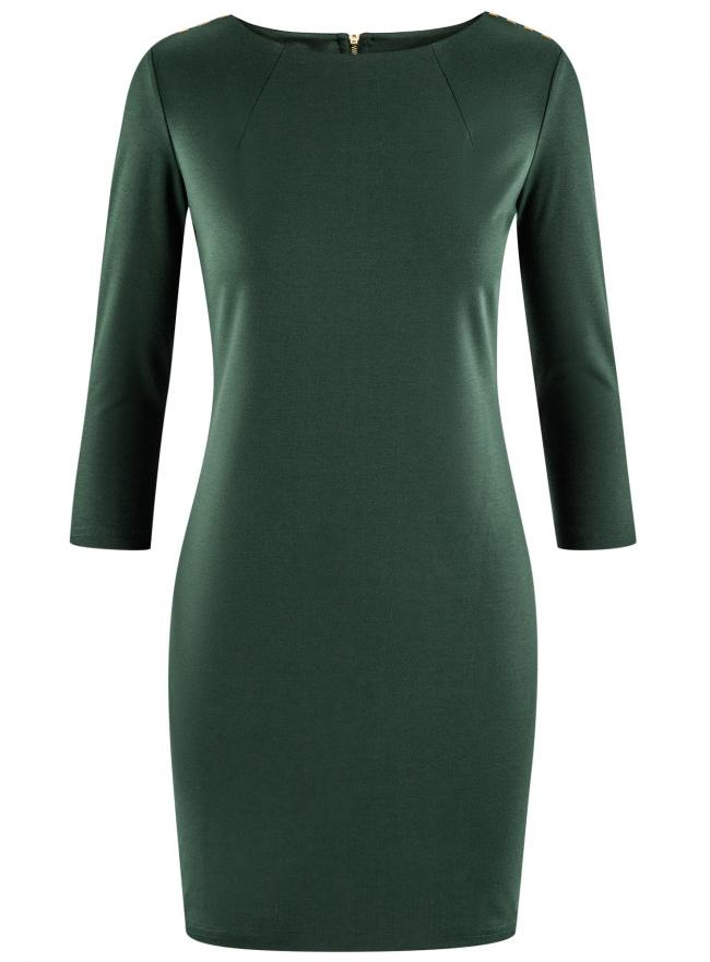 Платье с металлическим декором на плечах oodji для женщины (зеленый), 14001105-2/18610/6E00N