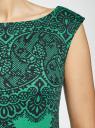 """Платье трикотажное с принтом """"кружево"""" oodji #SECTION_NAME# (зеленый), 14001170/37809/6D29L - вид 5"""