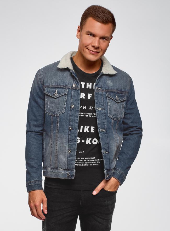 Куртка джинсовая с искусственным мехом на воротнике oodji для мужчины (синий), 6L310001M/35771/7500W