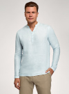 Рубашка льняная без воротника oodji #SECTION_NAME# (зеленый), 3B320002M/21155N/6000N - вид 2