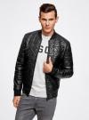 Куртка-бомбер из искусственной кожи oodji для мужчины (черный), 1L511044M/44375N/2900N - вид 2