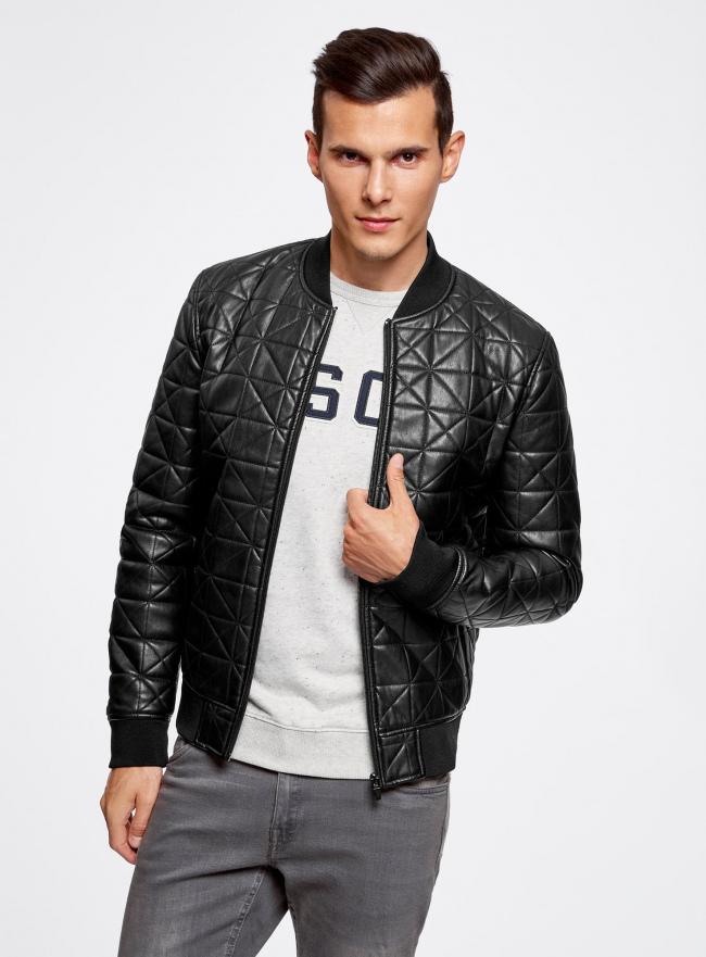 Куртка-бомбер из искусственной кожи oodji для мужчины (черный), 1L511044M/44375N/2900N