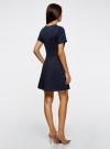Платье жаккардовое с коротким рукавом oodji #SECTION_NAME# (синий), 11902161/45826/7900N - вид 3