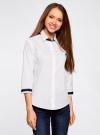 Рубашка с контрастной отделкой и рукавом 3/4 oodji #SECTION_NAME# (белый), 11403201-2B/26357/1000N - вид 2