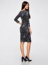 Платье трикотажное с вырезом-капелькой на спине oodji #SECTION_NAME# (черный), 24001070-5/15640/2970F - вид 3