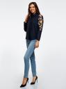 Рубашка хлопковая с вышивкой oodji #SECTION_NAME# (синий), 13L05001/13175N/7900N - вид 6