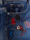 Шорты джинсовые с рисунком и потертостями oodji #SECTION_NAME# (синий), 12807072/45254/7919K - вид 5