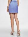 Юбка короткая с отделкой из искусственной кожи oodji для женщины (фиолетовый), 11601179-10/46415/7500N