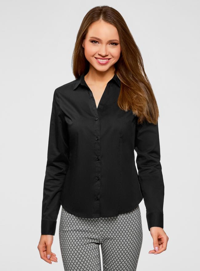 Рубашка базовая с V-образным вырезом oodji для женщины (черный), 13K02001B/42083/2900N
