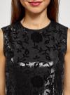 Платье с пайетками и принтом из флока oodji для женщины (черный), 24005135/46121/2929F - вид 4