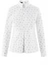 Блузка хлопковая с баской oodji #SECTION_NAME# (белый), 13K00001B/26357/1079Q