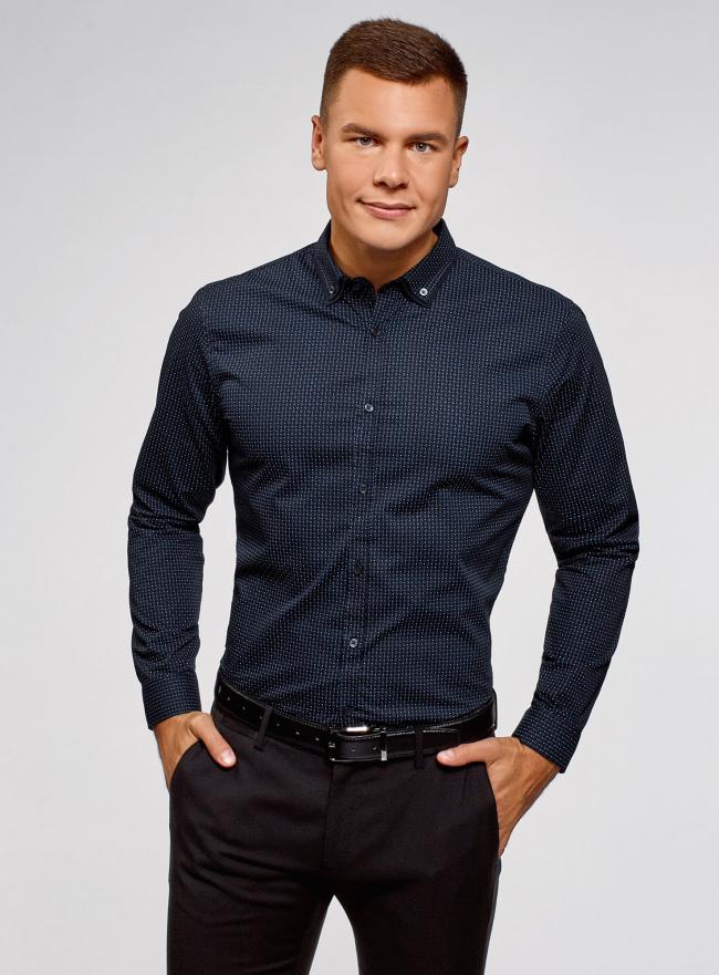 Рубашка приталенная в мелкую графику oodji для мужчины (синий), 3L110348M/44425N/7975G