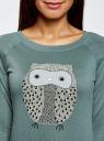 """Свитшот с рисунком """"сова"""" oodji для женщины (зеленый), 14807031/15640/6C29P"""