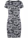 Платье приталенное с металлическим декором на плечах oodji #SECTION_NAME# (серый), 14001177/18610/2523O