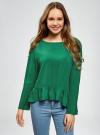 Блузка вискозная с воланами oodji #SECTION_NAME# (зеленый), 11405136/46436/6E00N - вид 2