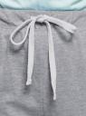 Брюки хлопковые на завязках oodji для женщины (серый), 16701082/47420/2000M